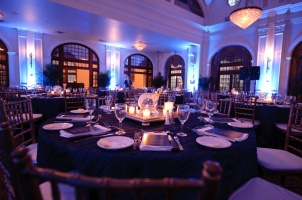 Lovely settings in the Rice Hotel Crystal Ballroom Houston for a corporate event