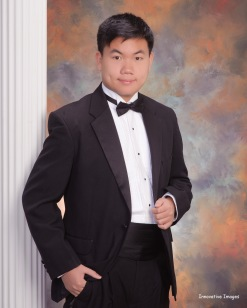 Jiakai Pan high school formal portrait for Houston Youth Symphony Concert Competition Award
