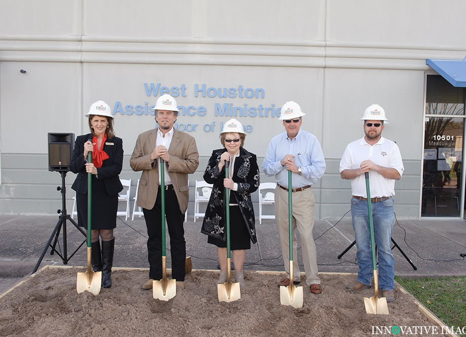 Photograph of group with shovels for a groundbreaking