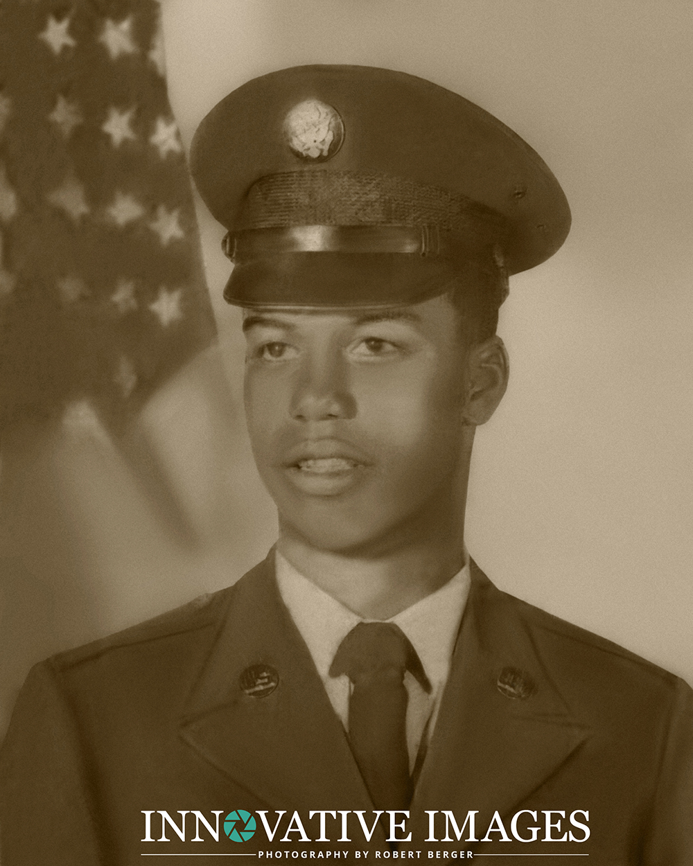 Retouched and restored photo of African American soldier