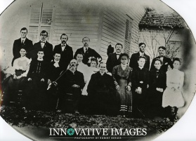 Old 1800 group portrait before photo restoration