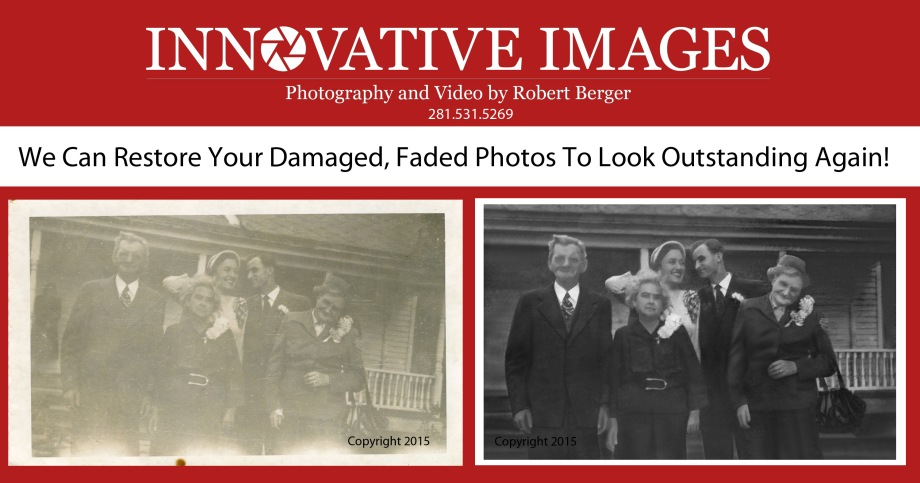Photograph Restoration Houston, photo restoration houston- This black and white photo was very scratched and faded. See our final photo restoration. Photo Restoration Houston Texas, Photo and Artwork Reproduction in Houston Texas, Innovative Images Photography by Robert Berger