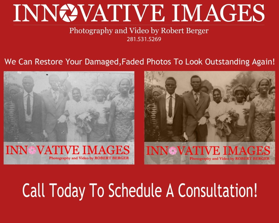 Photo Photograph Picture Restoration , we fix old faded damaged photos in color or black and white to look outstanding again! Innovative Images Photography by Robert Berger, Houston Texas